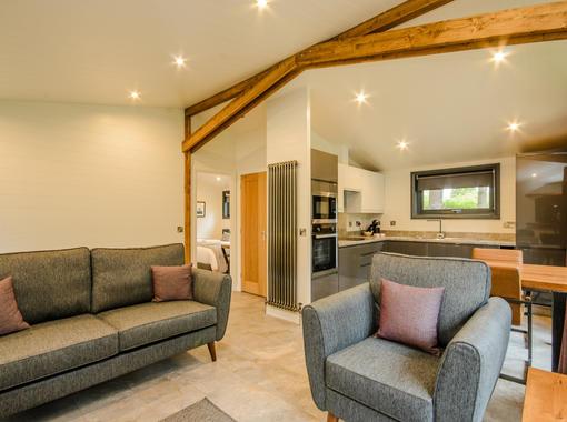 Lounge area showing oak feature beams