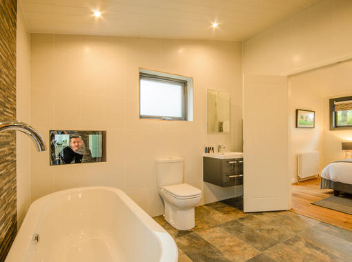 Luxury bathroom with TV