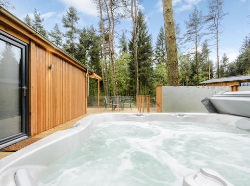 Hot tub with forest views