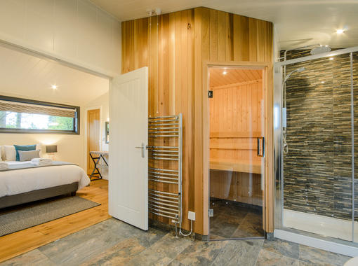 Luxury ensuite bathroom with sauna and shower