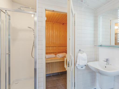 bathroom with sauna and separate shower cubicle