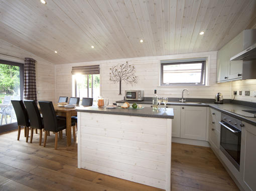 Modern and bright open plan kitchen area