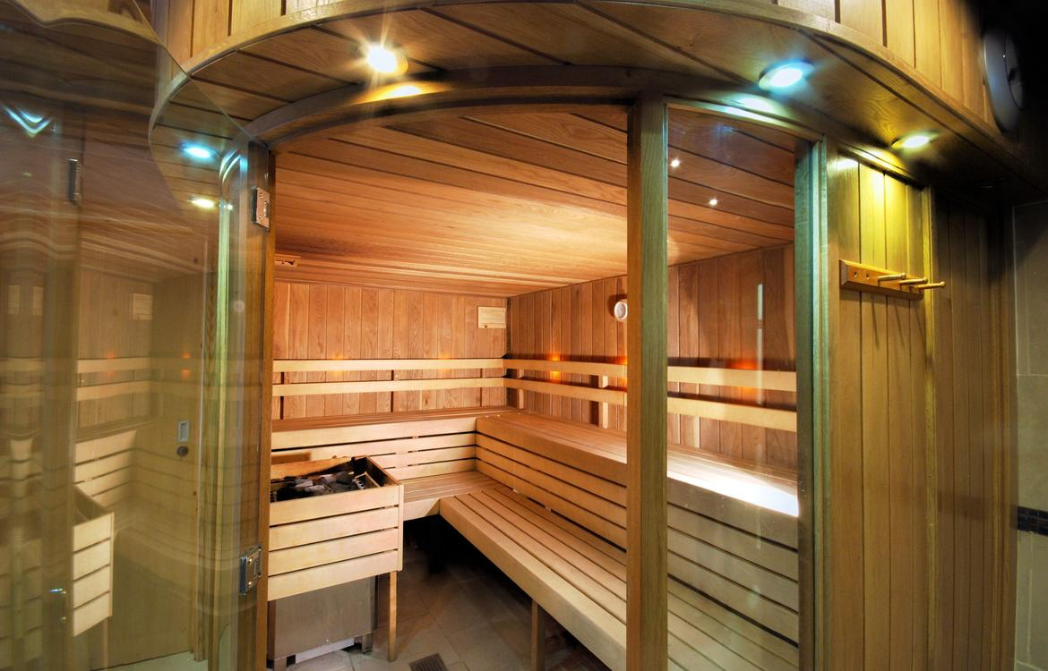 Modern sauna  with curved glass door