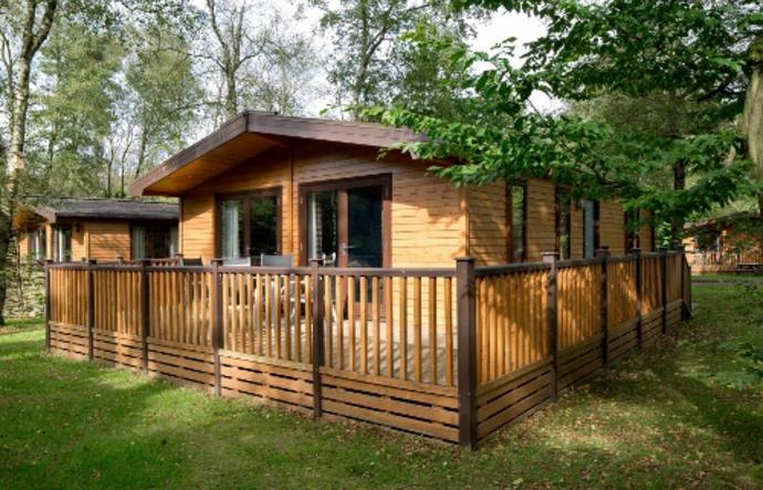 Front of log cabin
