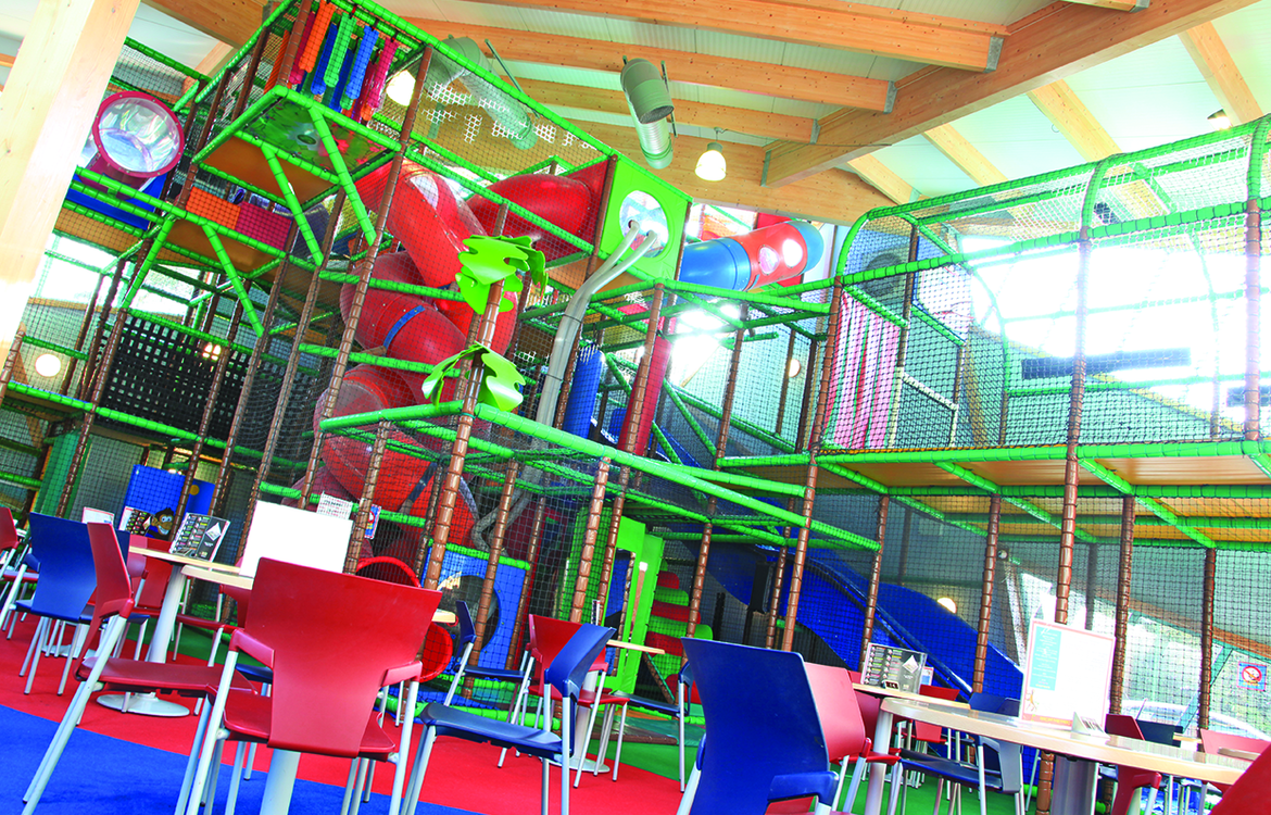 Seating area and play frame in Little monkeys