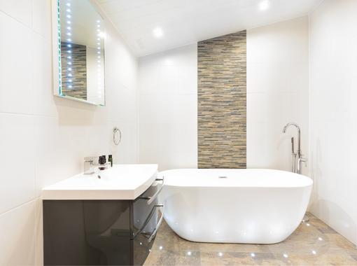 Modern bathroom with freestanding bath