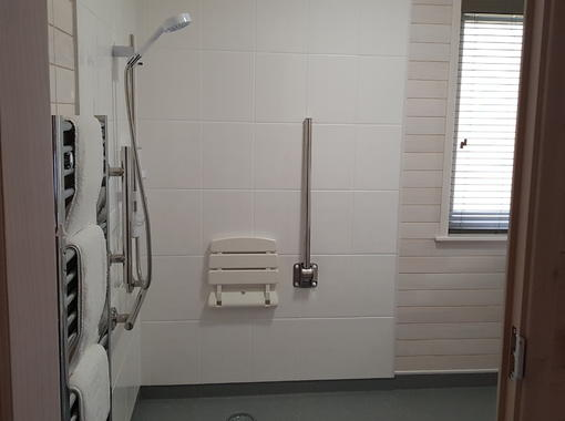 Wet room with drop down seat in shower