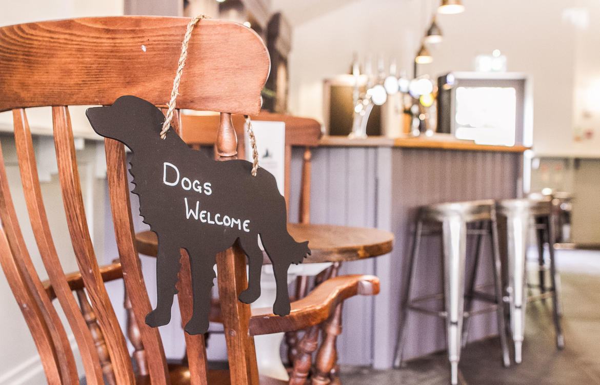 Dogs welcome sign, hung over the back of a chair in the Bar area