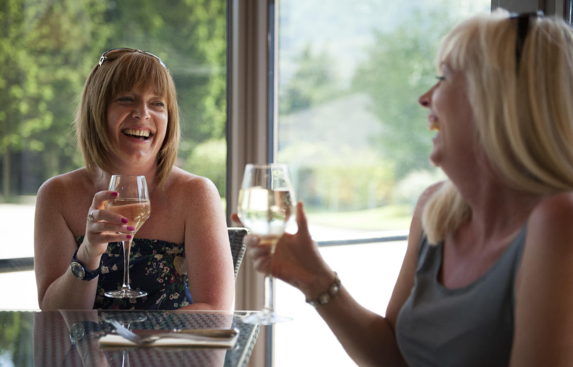 Friends enjoying a glass of wine in the conservatory area