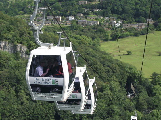 Cable cars travelling from the valley of matlock bath to the heights of abraham