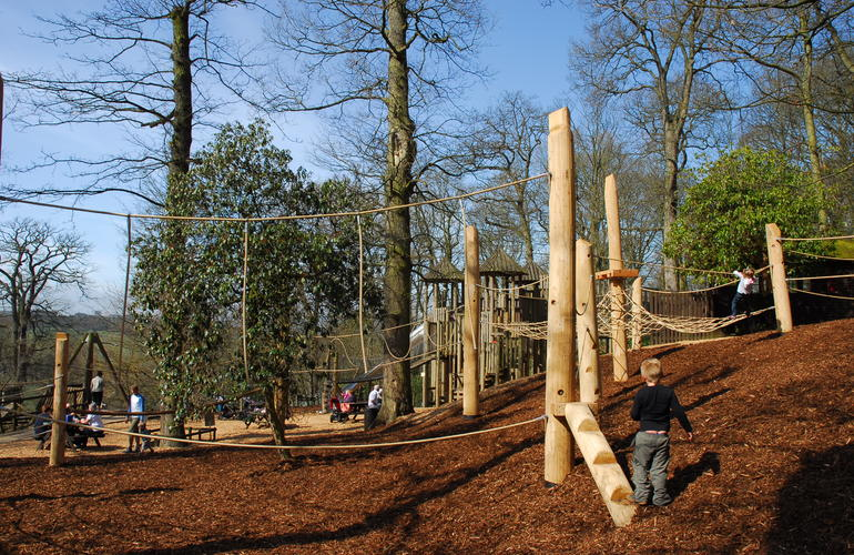 Playground with wooden structures at Chatsworth