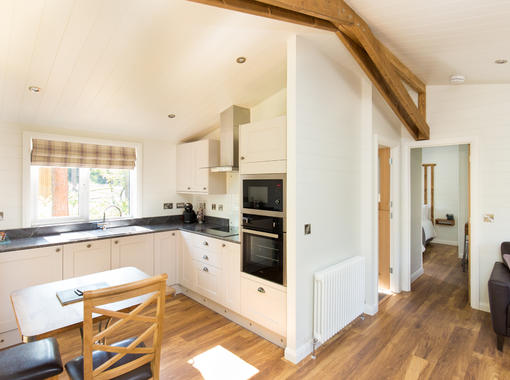 Interior picture showing open plan kitchen and dining area