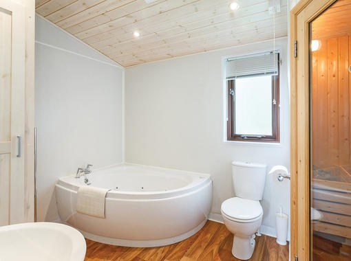 Large bathroom with jacuzzi bath and sauna